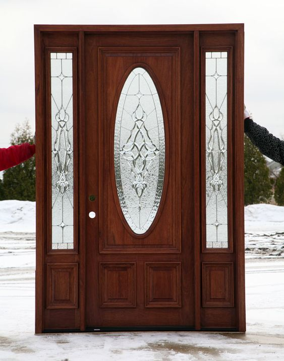 Front door with leaded glass oval pinteres for Exterior door with round window