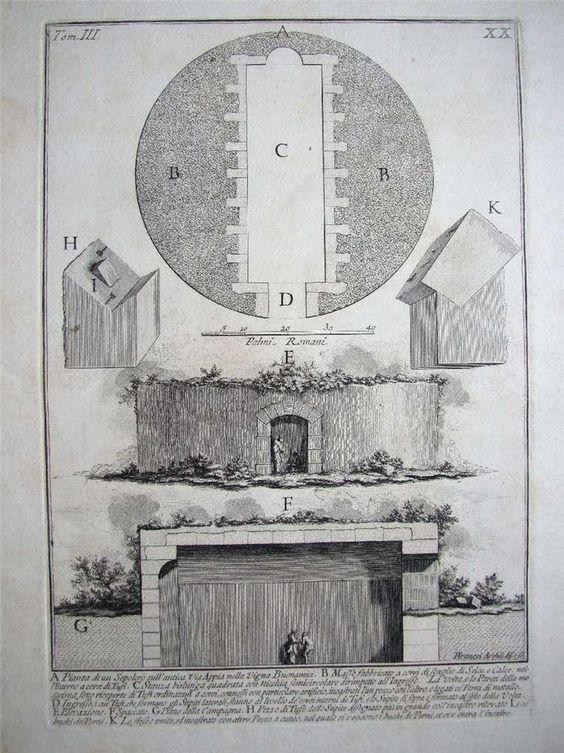 1748 Piranesi Engraving Sepolcro sull'a Antica Via Appia, Le Antichità Romane in…