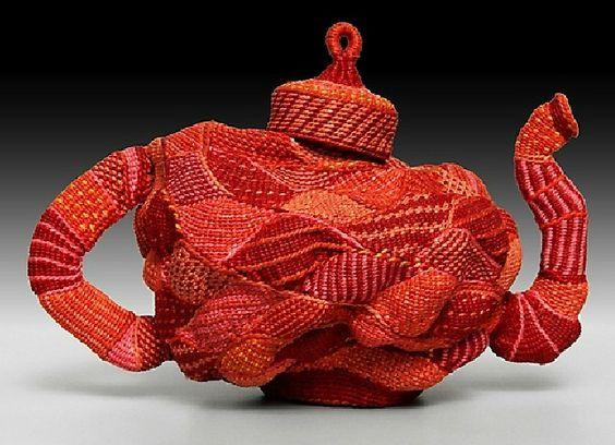 Louis Russell | 'Scandal Teapot'. Twined wax linen.