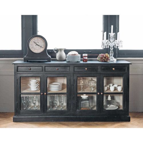 buffet vitr en manguier noir l 170 cm buffet pinterest doors glasses and mango - Buffet Noir