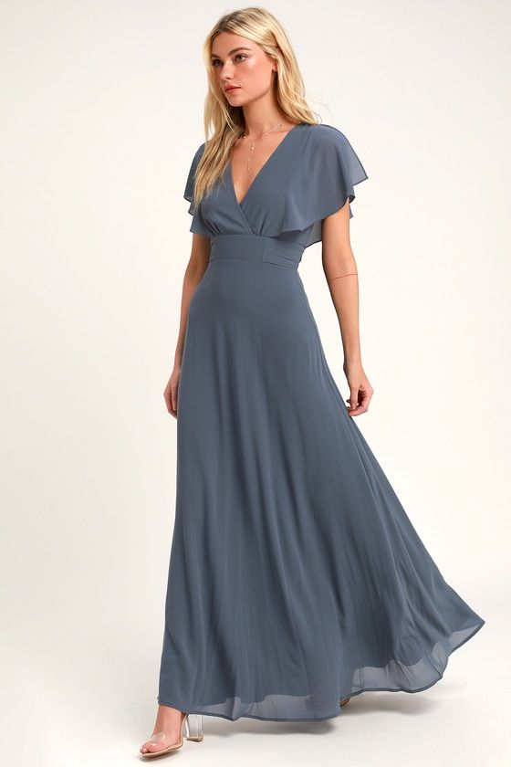 Lulus | Dearly Loved Slate Blue Flutter Sleeve Maxi Dress | Size X-Small | 100% Polyester