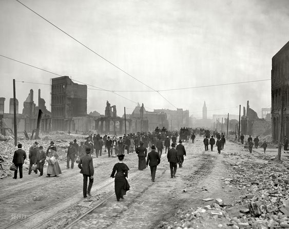 """Market Street toward ferry."" San Francisco after the earthquake and fire of…"