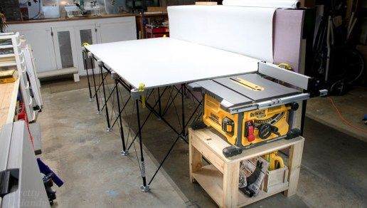 Diy Table Saw Stand Collapsible Out Feed Work Table Table Saw Stand Diy Table Saw Home Made Table Saw