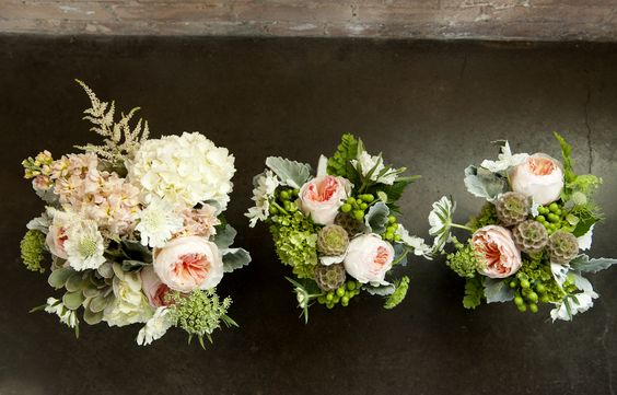 Bridal bouquet and bridesmaid bouquets. Peach Juliet garden roses, white and green hydrangeas, scabiosa pods,  lambs ear