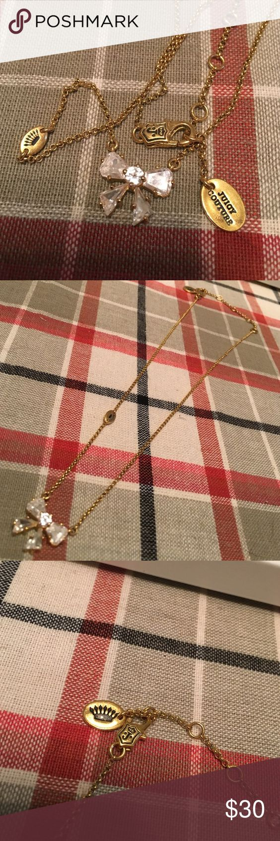 Juicy couture bow necklace with sparkle Juicy couture necklace. Great condition. Juicy Couture Jewelry Necklaces