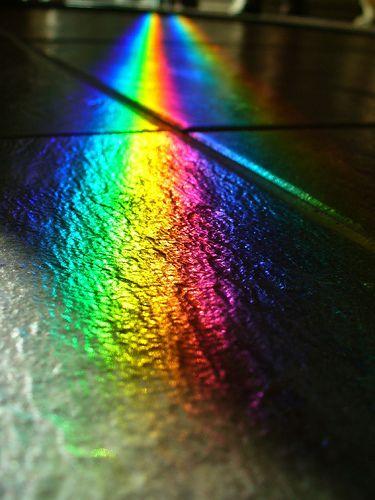Black slate, twin rainbows