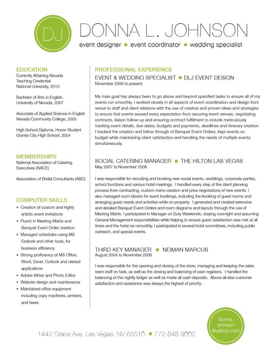 Custom two-page resume template - Color circle initials - custom resume templates