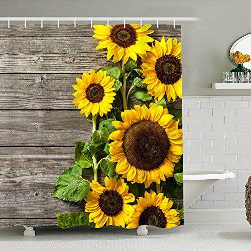 Bathroom Sunflower Shower Curtain In 2020 Shower Curtain Sets