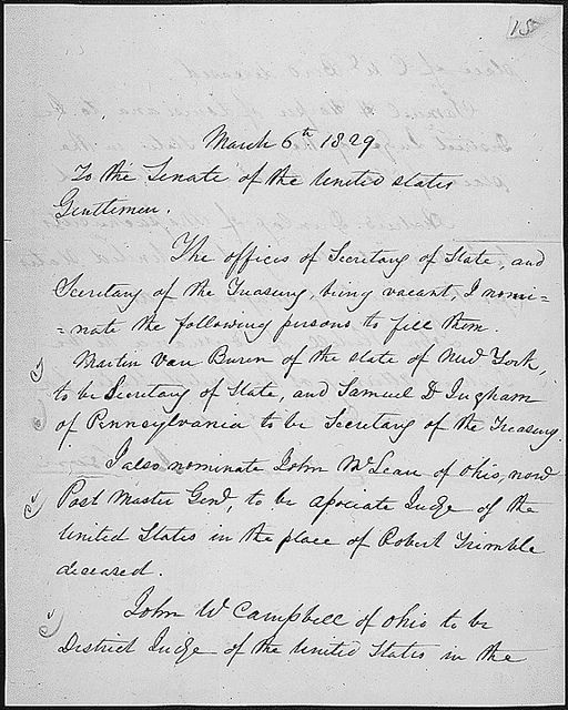 Message of President Andrew Jackson nominating his cabinet, 03/06/1829 (page 1 of 2) by The U.S. National Archives, via Flickr