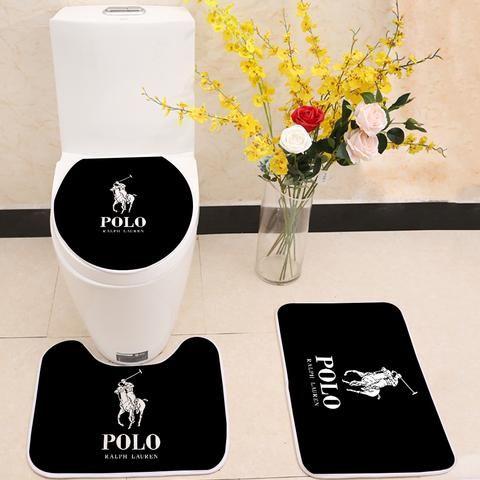 Ralph Lauren Polo Logo Floor Carpet Toilet Rug Lid Cover 3 Piece Bath Mat Set Bath Mat Sets Unique Bath Mats Bath Rugs Sets