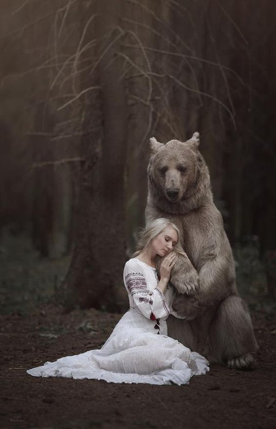 forest, bear, girl