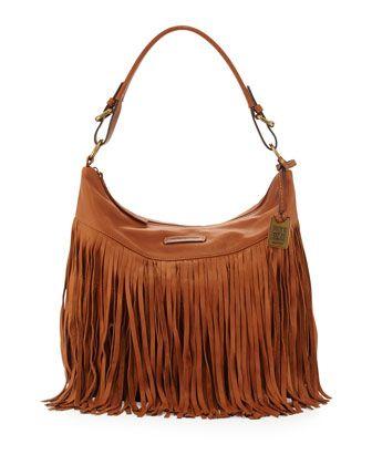 Heidi Leather Fringe Hobo Bag, Whiskey by Frye at Neiman Marcus.