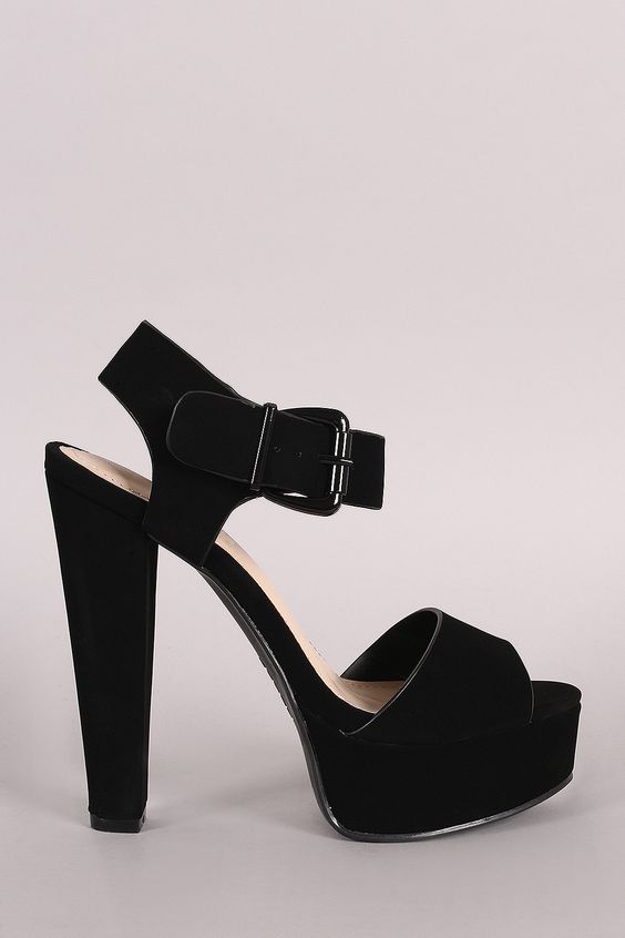 Chunky Platform Heels With Ankle Strap
