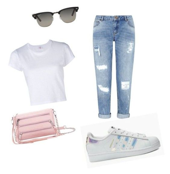 """Pastel pink bag, white t-shirt, boyfriend jeans, ray-ban clubmaster, holographic adidas superstars outfit"" by jennahyo on Polyvore featuring Rebecca Minkoff, Miss Selfridge, adidas Originals and Ray-Ban"