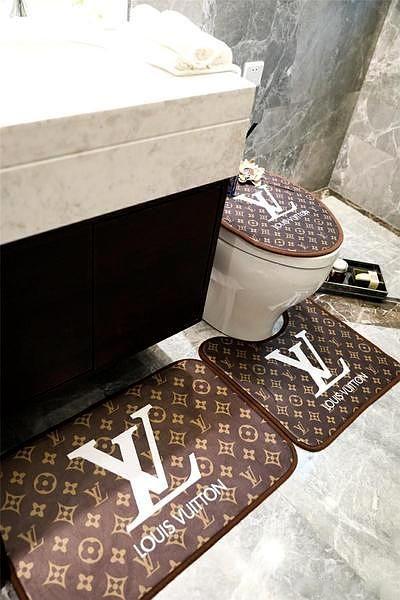 Luxury Bath Mat 3ps Lv Supreme Logo Fashion Non Slip Bathroom Mats Luxury Bath Mats Bathroom Mats Luxury Bath