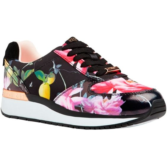 Ted Baker Phressya Lace Up Trainers ($125) ❤ liked on Polyvore featuring shoes, sneakers, citrus bloom print, canvas low-top sneakers, floral canvas sneakers, ted baker sneakers, lace up sneakers and floral flat shoes