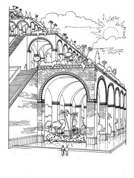 Hanging Gardens of Babylon coloring page cycle 1