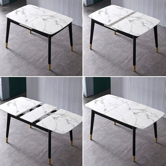 Rectangular Extendable Faux Marble Dining Table With Marble Veneer Top Modern Dining Table 55 Dining Table Marble Modern Dining Table Faux Marble Dining Table