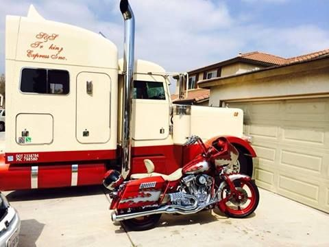 Cool bike and truck combo.