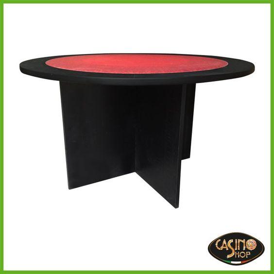 ART.0146 Tavolo da poker dalla forma circolare  Tavolo da poker in laminato colore nero con base moderna a forma di croce.  Panno in microfibra antimacchia colore rosso con trama.  Tavolo per 4-5 giocatori.