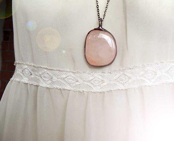 Natural pink QUARTZ Statement pendant pink Quartz by MARIAELA