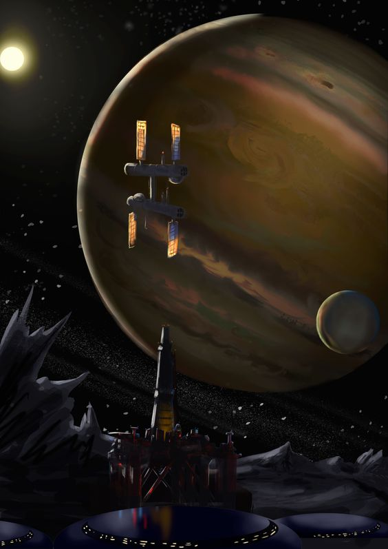 Drilling operation on a far planet next to a Jupiter Station