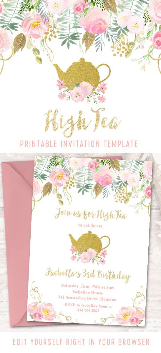 Pin By Lb On Ella 4th Birthday Party In 2021 Tea Party Invitations Tea Party Baby Shower Invitations Birthday Party Invitation Templates