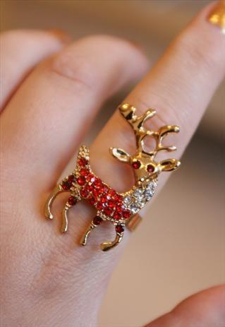 Red Crystal Reindeer Ring