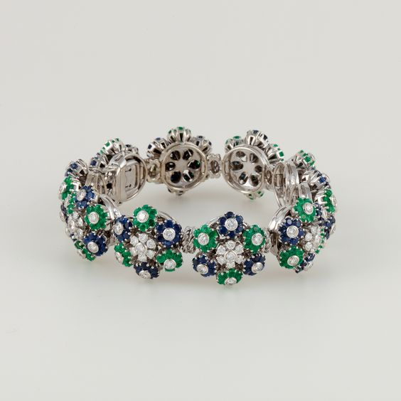 Diamond, Sapphire, and Emerald Bracelet