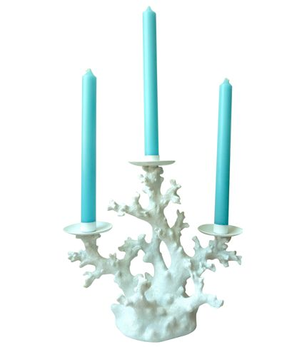 This coral candelabra ($62) from my online boutique Design Darling is perfect for summer entertaining! PLEASE REPIN to help me win a power session with Shark Tank's Daymond John! I'm 22 years old and launched my home decor and monogrammed gift boutique after creating an established lifestyle blog while in college. I'm driven and passionate and would benefit greatly from Daymond's experience and expertise! #shopify_contest