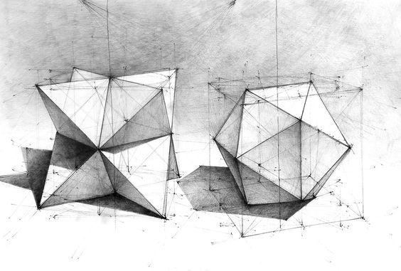 Geometry. Penicl&pen. 35x50. Drawings made in drawing school classes DOMIN…