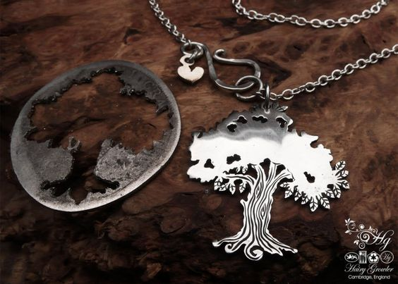 The Hairy Growler Silver Tree collection. Handcrafted and repurposed Victorian silver coin Oak Tree necklace by Hairy Growler.