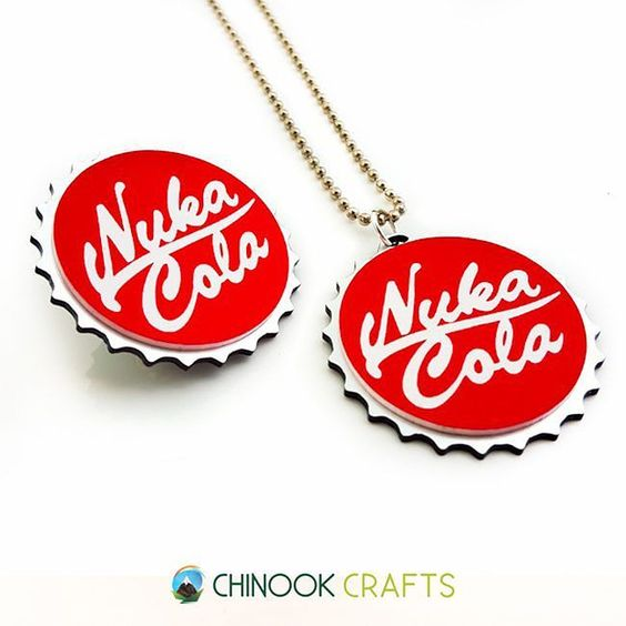 Available at: http://etsy.me/1OZ7E3P - Exchange your pre-war money for caps here! No money glitching here though ain't got no .308 ammo. :P - #ChinookCrafts #fallout #fallout4 #fo4 #nukacola #wasteland #bottlecap #necklace #pendant #product #acrylic #lasercut #handmade by chinookcrafts