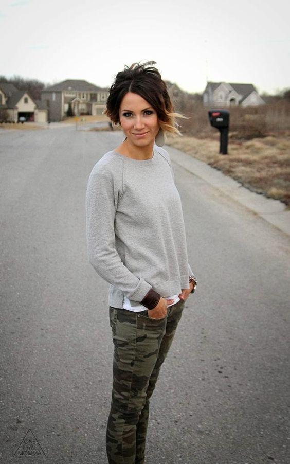 ONE little MOMMA: What I Wore - Camo and Gray + the Perfect Backpack