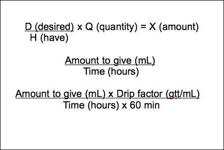 Gtt Factor formula | ... infusion without a pump amount ml x drip factor gtt ml t hr x 60 min