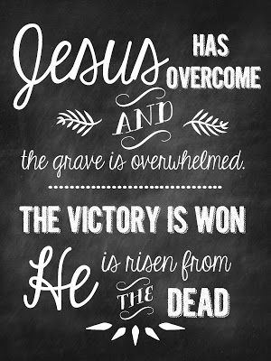 Jesus has overcome and the grave is overwhelmed. The victory is won, He is risen from the dead.: