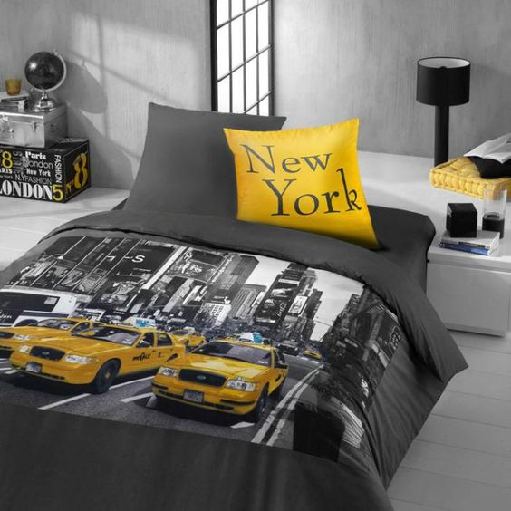 la housse de couette new york un beau style pour la chambre coucher new york. Black Bedroom Furniture Sets. Home Design Ideas