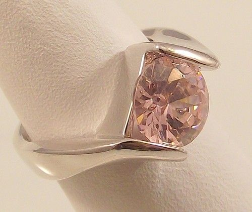 Ladies Russian Formula Tourmaline CZ Solitaire Silver Ring~Size 4- Free Gift Box