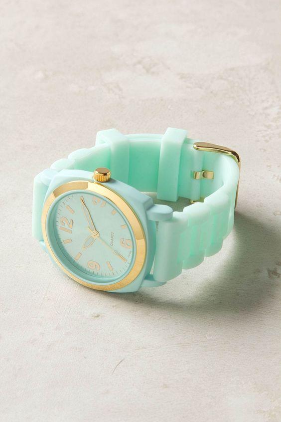 Mint / Gold watch