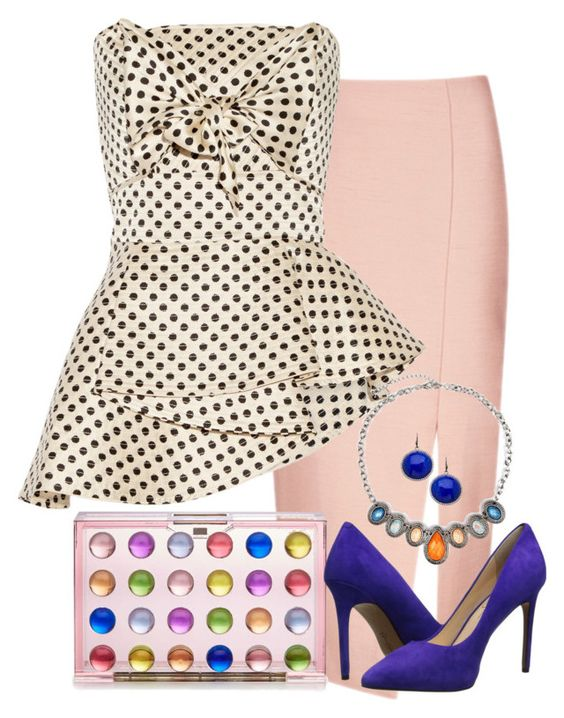 """Polka Dot 2"" by anna-martirosyan ❤ liked on Polyvore featuring C/MEO COLLECTIVE, Mary Katrantzou, Johanna Ortiz, Jessica Simpson, Madison Precious Jewels and Arizona"