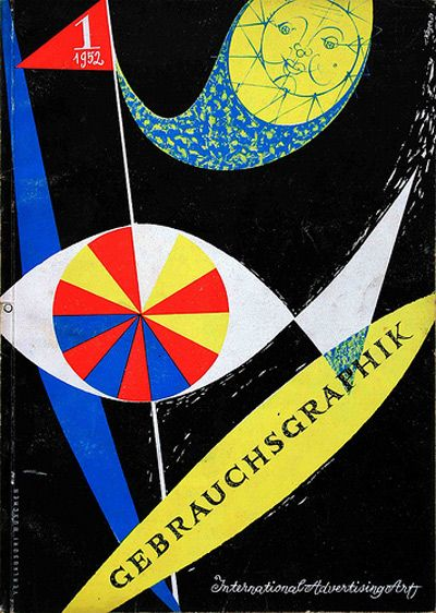 "Magazine cover: ""Gebrauchsgraphik – International Advertising Art"", January 1952  Artist: Unknown  Gebrauchsgraphik was an important forerunner of the design and graphics magazines that we have today."