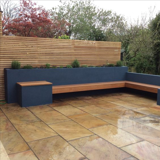 Raised Beds Planted With Herbs Hardwood Bench And