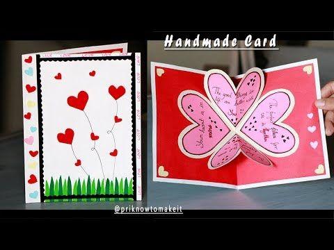 Valentine Day Card Diy Flower Pop Up Card Handmade Craft Paper Craft Greeting Cards Youtube Paper Craft Greeting Cards Greeting Card Craft Paper Crafts