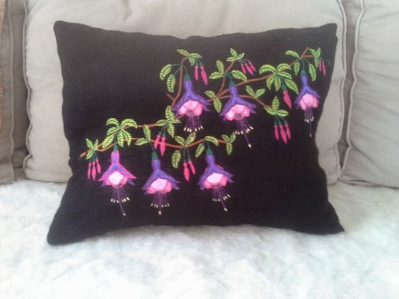 Natural Burlap Fushia Flower 3D Embroidered by PeriferiBodrum, $45.00