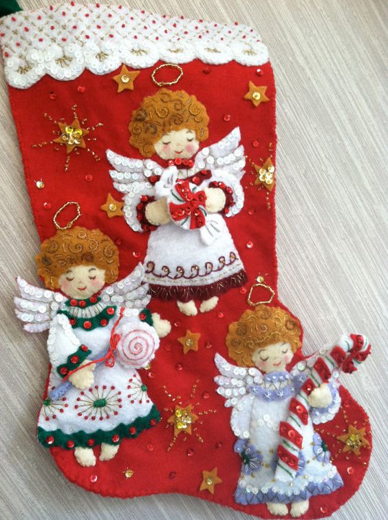 Candy Angels Completed Handmade Felt Christmas Stocking from Bucilla Kit:
