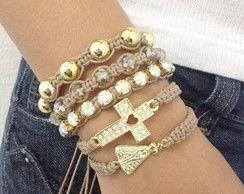 Kit pulseiras cruz e N. Sra. Aparecida