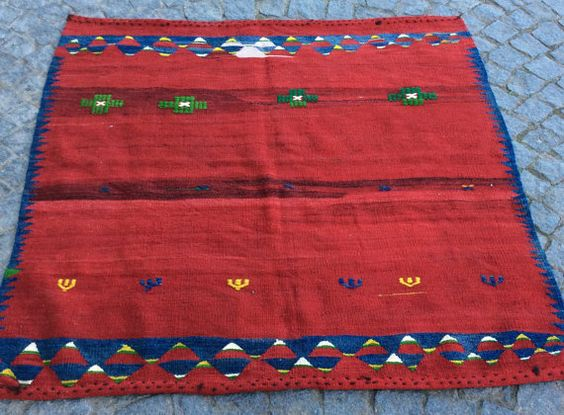 Small Red Kilim Sofra rug from Turkey with blue by CarpetGallery