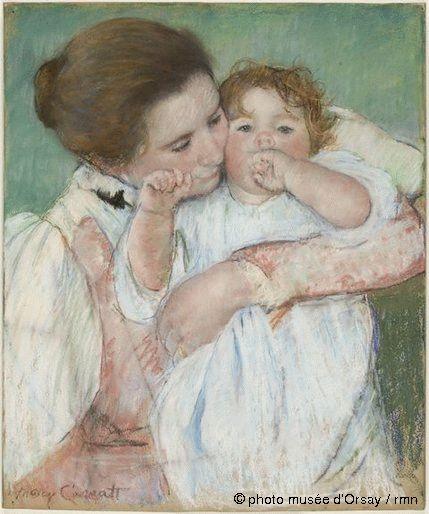 Mère et enfant sur fond vert de Mary Cassatt (Musée d'Orsay)