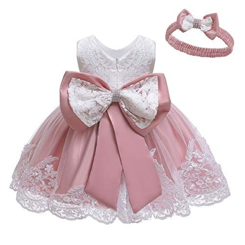 Princess Baby Kids Girl Bowknot Lace Floral Dress Baptism Party Pageant Dresses