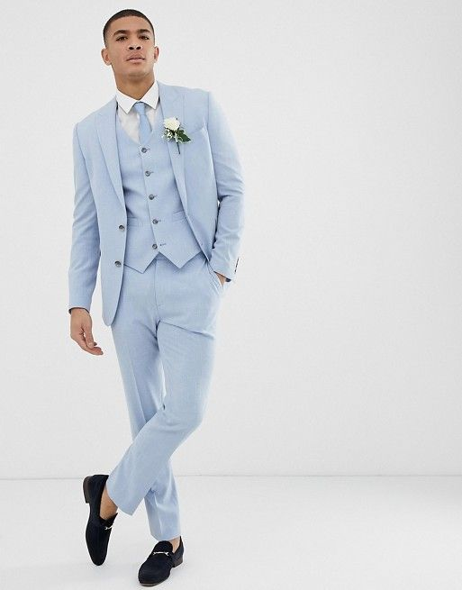 ASOS DESIGN | ASOS DESIGN wedding skinny suit jacket in blue cross hatch